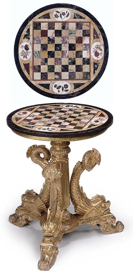 A GILTWOOD AND SPECIMEN MARBLE CIRCULAR CENTRE TABLE