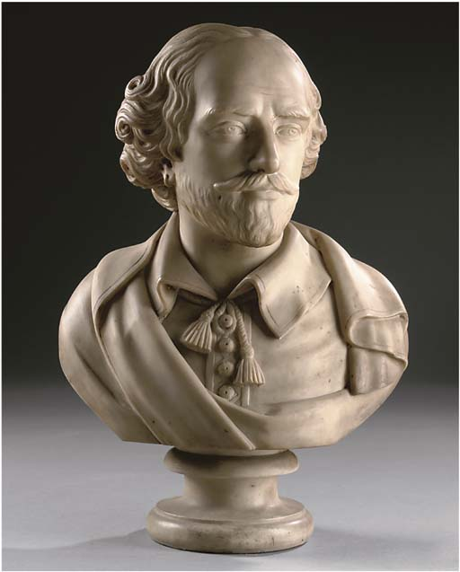 A SCULPTED WHITE MARBLE BUST OF WILLIAM SHAKESPEARE