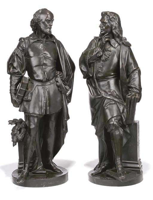 A PAIR OF FRENCH BRONZE FIGURES OF SHAKESPEARE AND MILTON