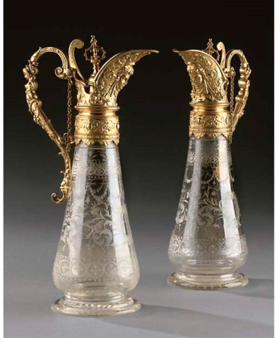 A PAIR OF GILT-BRONZE AND CUT