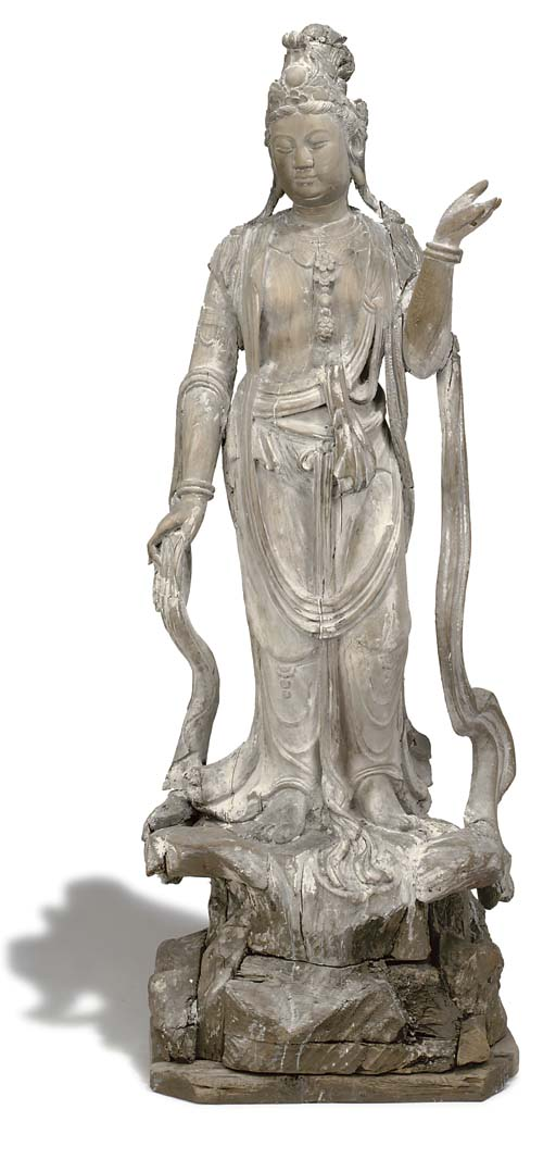 A CHINESE CARVED WOOD FIGURE OF GUANYIN