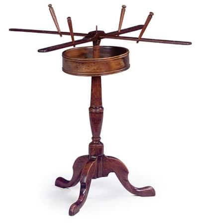 A MAHOGANY WOOL WINDER TABLE