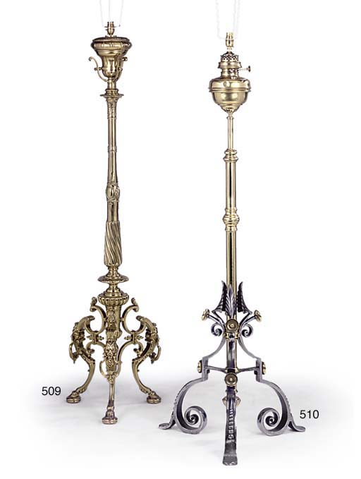 A LATE VICTORIAN BRASS STANDARD LAMP