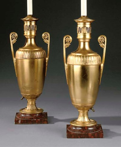 A PAIR OF FRENCH GILT METAL TA