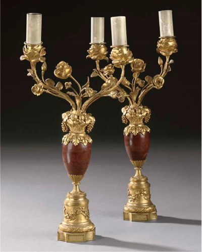 A PAIR OF GILT BRONZE AND ROUG