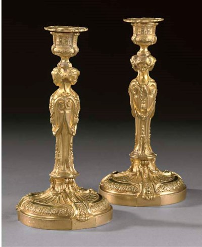 A PAIR OF GILT BRONZE CANDLEST