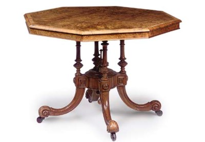 A MID-VICTORIAN BURR WALNUT AN