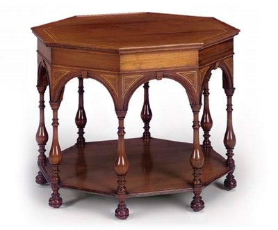 A LATE VICTORIAN WALNUT AND SY