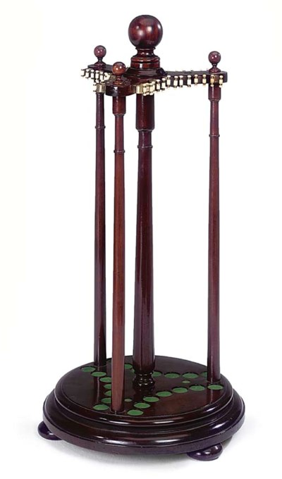 A MAHOGANY SNOOKER CUE STAND