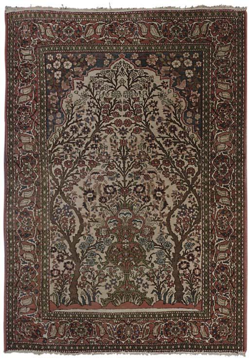A pair of Isfahan prayer rugs
