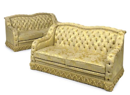 A PAIR OF YELLOW SILK DAMASK S