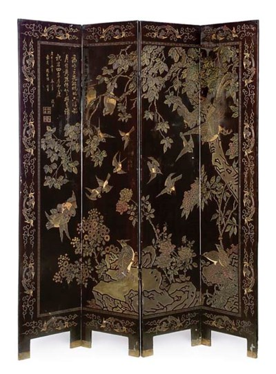 A CHINESE FOUR FOLD SCREEN
