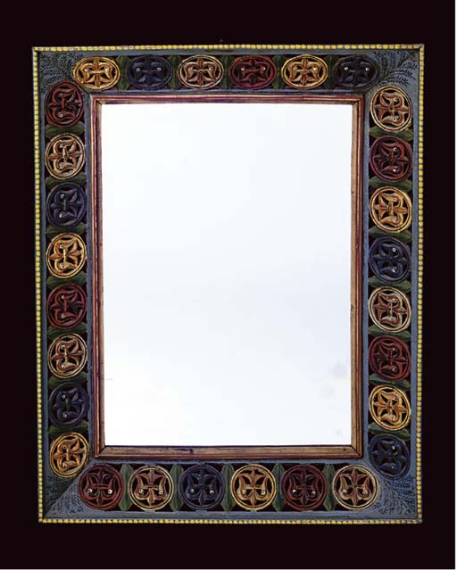 A POLYCHROME PAINTED MIRROR