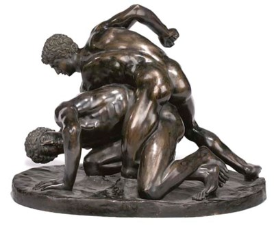 A BRONZE GROUP OF THE WRESTLER