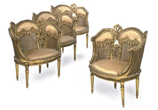 A SET OF FOUR GILTWOOD BERGERE