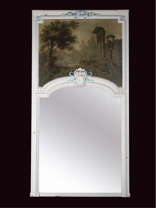 A WHITE PAINTED OVERMANTEL MIR