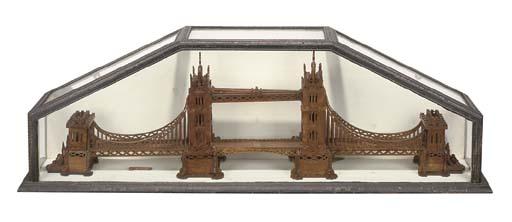 AN OAK MODEL OF TOWER BRIDGE
