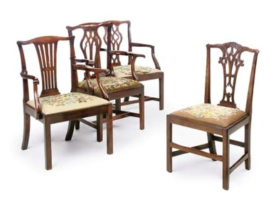THREE MAHOGANY ARMCHAIRS