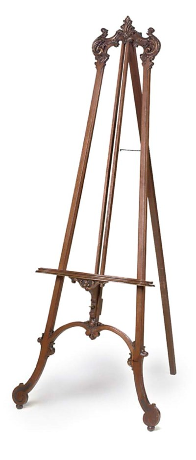 A FRENCH CARVED MAHOGANY EASEL