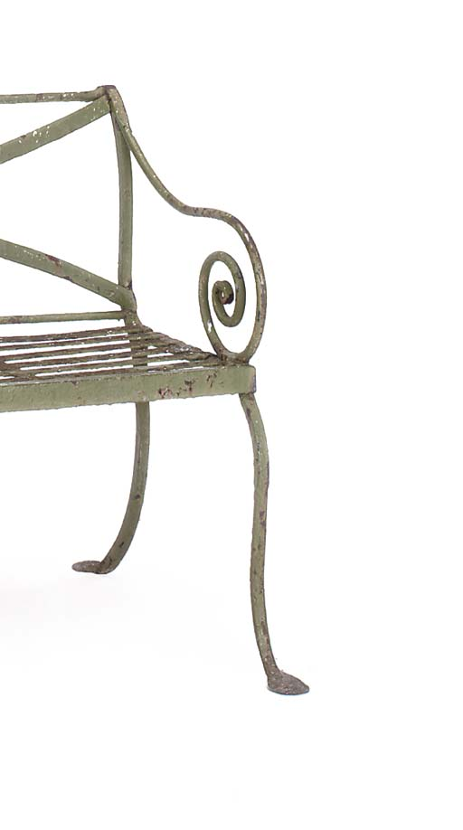 A WROUGHT IRON GARDEN SEAT