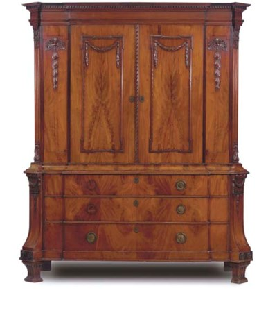 A DUTCH MAHOGANY ARMOIRE
