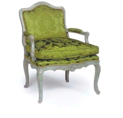 A LOUIS XV GREY PAINTED FAUTUE