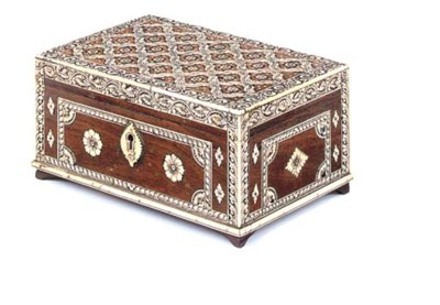 AN ANGLO-INDIAN IVORY VENEERED