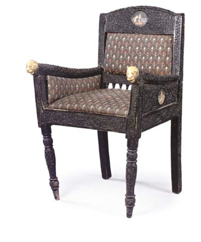 AN ANGLO-INDIAN EBONISED WOOD