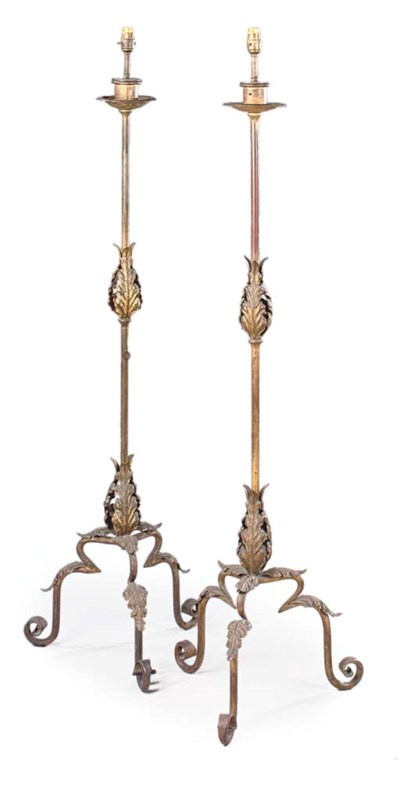 A PAIR OF GILT AND PATINATED I