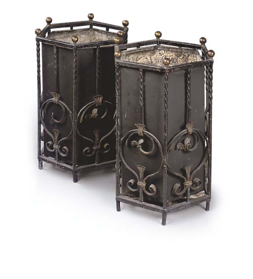 A PAIR OF PAINTED IRON JARDINI