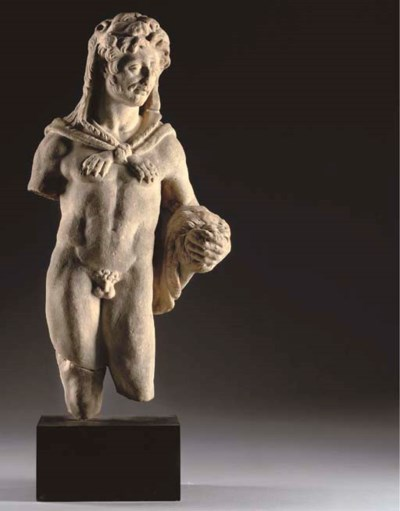 A WHITE MARBLE FRAGMENTARY FIG