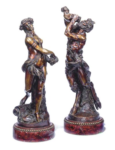 A PAIR OF FRENCH BRONZE BACCHI