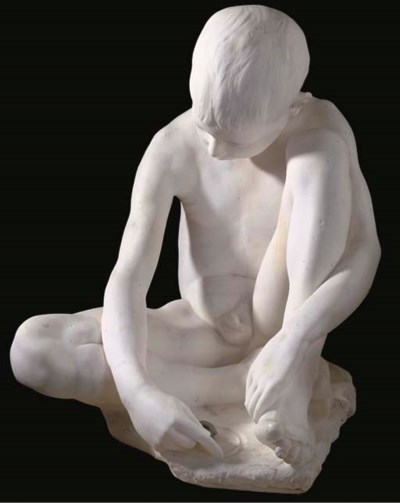 A WHITE MARBLE FIGURE OF A BOY