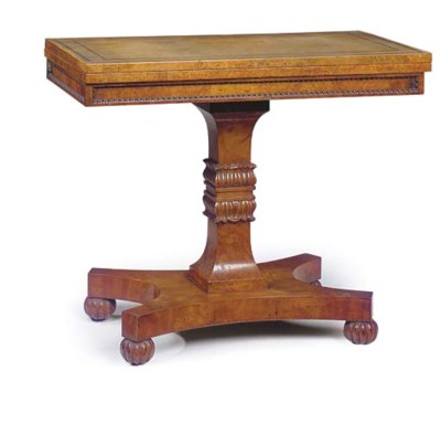 A REGENCY BURR ELM GAMES TABLE