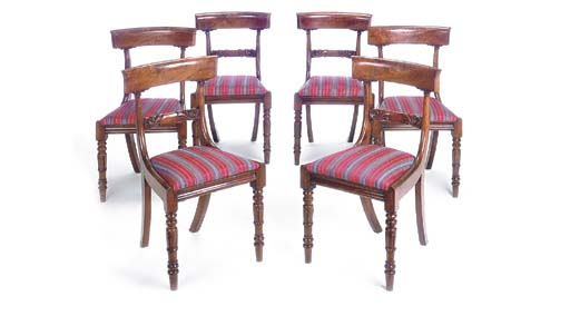 A SET OF SIX WILLIAM IV WALNUT