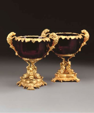 A PAIR OF GILT METAL AND RUBY