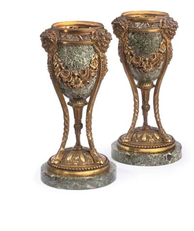 A PAIR OF GILT BRONZE AND VERD