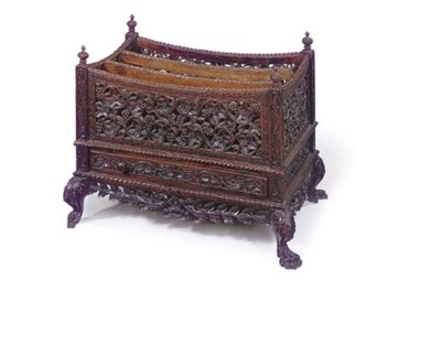 AN ANGLO-INDIAN CARVED ROSEWOO