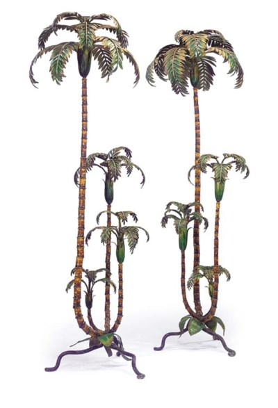 A PAIR OF PAINTED METAL PALM T
