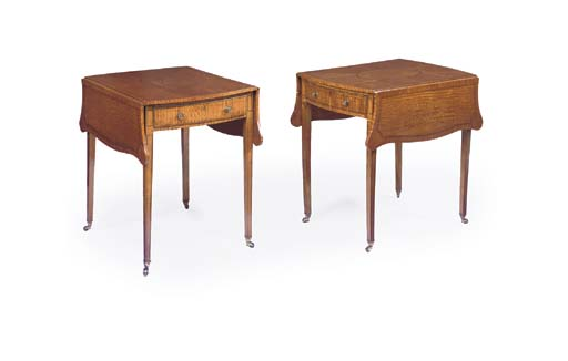 A PAIR OF SATINWOOD AND POPLAR