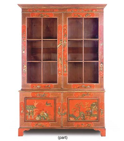 A RED AND GILT JAPANNED BOOKCA