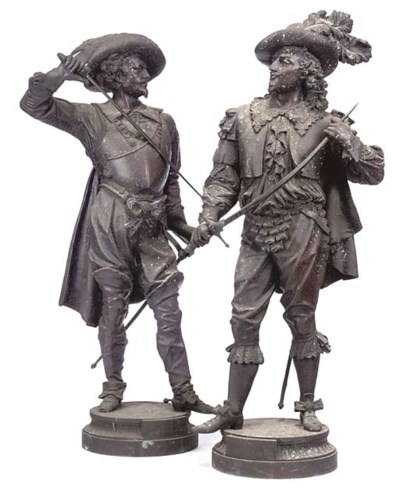 A PAIR OF LARGE FRENCH SPELTER