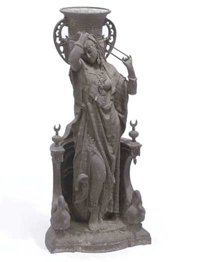 A LARGE FRENCH SPELTER MODEL O