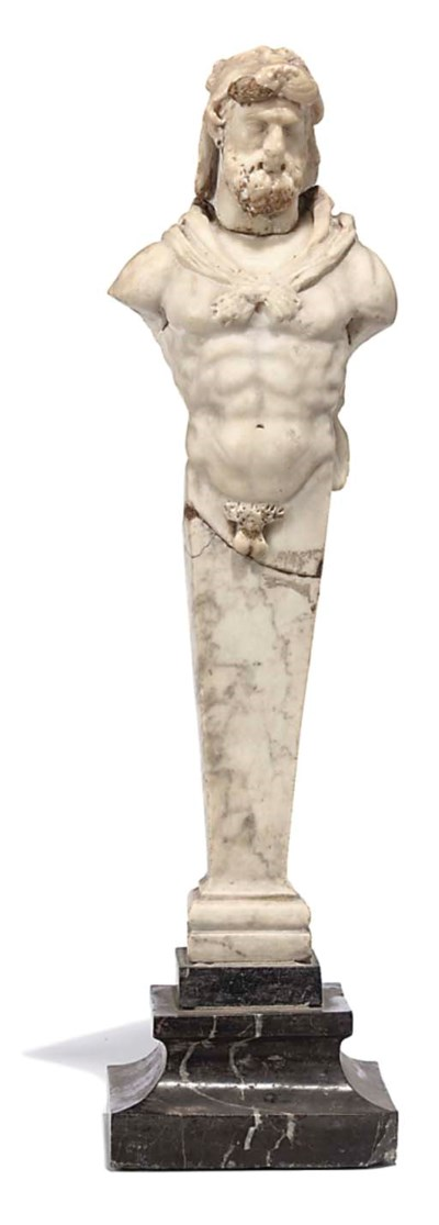 A SCULPTED MARBLE HERM FIGURE