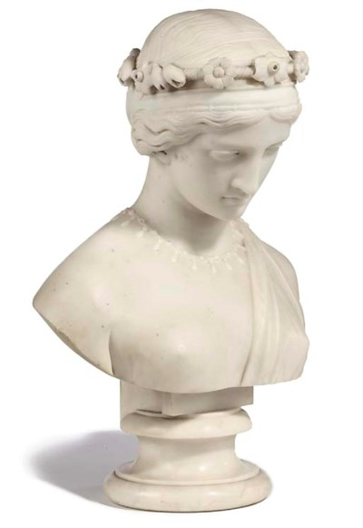 A VICTORIAN WHITE-MARBLE BUST