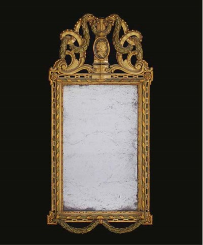 A PAINTED AND PARCEL-GILT MIRR