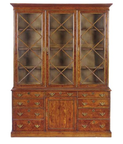A BURR YEW BOOKCASE
