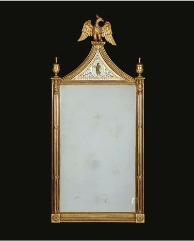 A GILTWOOD, GESSO AND STAINED