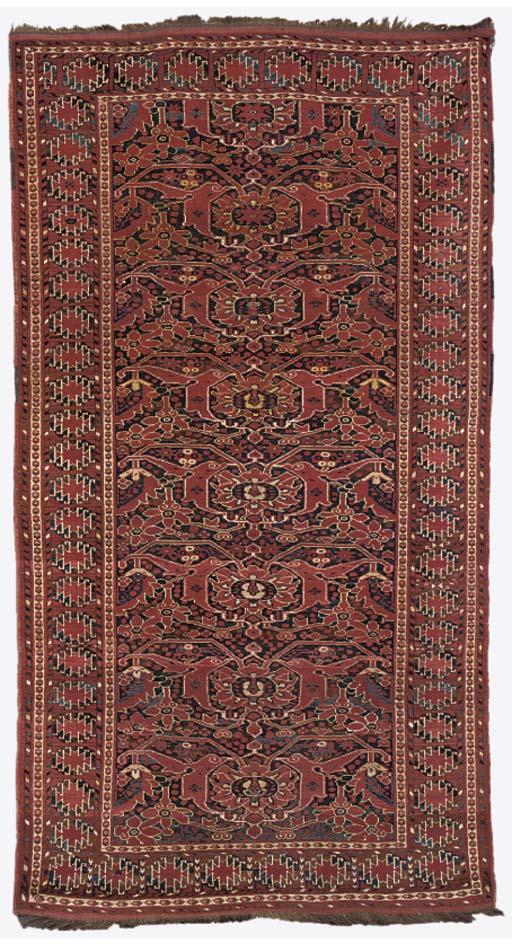 An unusual antique Beshir rug