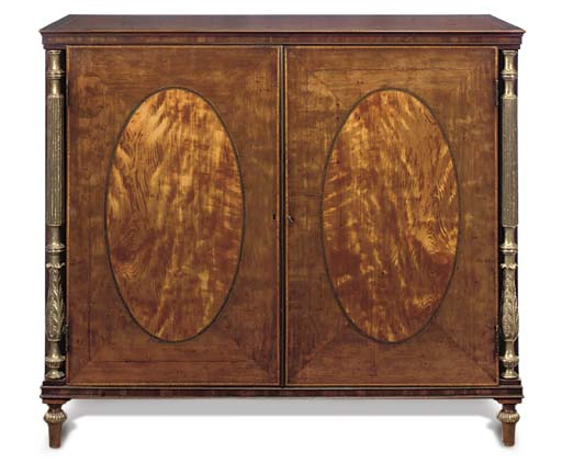 A MAHOGANY, SATINWOOD, ROSEWOOD CROSSBANDED AND PARCEL GILT SIDE CABINET